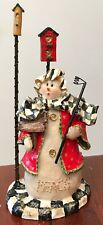 My Own Hand Painted Ceramic Snow Girl with Bird Houses - Black & White Check