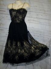VTG 50's Dress Sheer Black Lace Gold Floral Rockabilly Tiered Party Cocktail