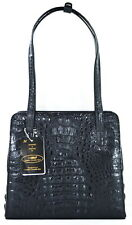 100% GENUINE CROCODILE LEATHER HANDBAG SHOULDER BAG TOTE BLACK NEW
