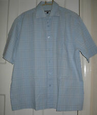 Mens George Light Blue Check Short  Sleeve Formal/Casual Shirt Size:M (MT16)