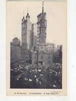 Park Row St Paul Buildings St Pauls Church New York USA Vintage Postcard US017