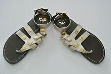 Gold Leather Strappy TORY BURCH Flat Sandals, Sz 5M