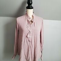 Gap Women's Pink Ruffle Print Popover Blouse Size Small Lightweight Long Sleeve