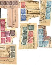 GERMANY - SIX DIFFERENT 1930's REGISTRATION CARD CUTS WITH STAMPS AND CANCELS  m