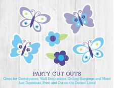 Lavender Butterfly Garden Party Cutouts Decorations Printable
