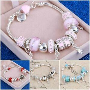 Crystal Charm Bracelets Silver Gold Bracelet Women Ladies Bead Christmas Gift