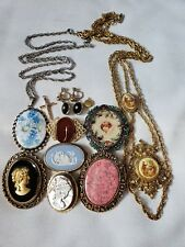 LOT VINTAGE JEWELRY Cameo Wedgewood BROOCH NECKLACE EARRINGS Gold Filled Nice!