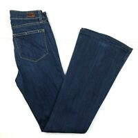 Paige Wide Leg High Rise Jeans womens 27 / 4 Dark Bell Canyon Denim Flare Blue