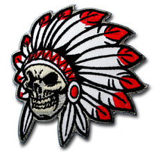 Skull Indian Chief Head Patch Iron Harley Biker Motorcycle Punk Tattoo Vest Sew