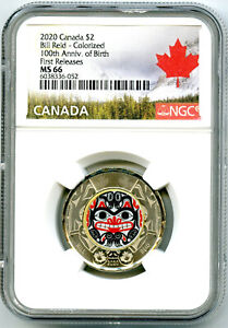 2020 $2 CANADA NGC MS66 COLOR TOONIE BILL REID BEAR TWO DOLLAR FIRST RELEASES
