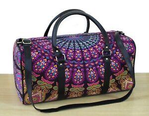 100%Cotton Indian Traditional Large Duffel Luggage Bag Floral Mandala Travel bag