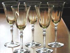 Fostoria Glass 5099 Topaz Water Goblets with Clear Stem - Set of 5