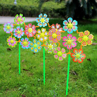 ITS- 2x Flower Windmill Wind Spinner Pinwheels Home Garden Yard Decor Kids Toys