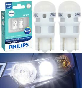 Philips Ultinon LED Light 194 White 6000K Two Bulb Front Side Marker Lamp OE Fit