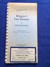 KLINGSOR'S LAST SUMMER - UNCORRECTED PROOF BY HERMANN HESSE