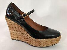 BCBG Max Azria Black Patent Leather Mary Jane Platform Wedge Wicker Heels 7 / 37
