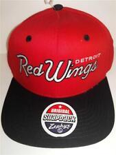 547e6d85496 New Detroit Red Wings Mens Size OSFA Zephyr Black Red Flatbrim Snapback Cap  Hat