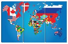 Quadro moderno azzurro tela planisfero mappamondo TERRA cartina bandiere 80x120