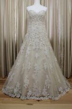 Justin Alexander A-line Wedding Dress Beaded Sequin Lined Light Gold Ivory 8701