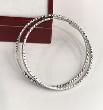 18k Solid White  Gold Cute Hoop Earrings 30mm .Diamond Cut Design. 1.95 grams