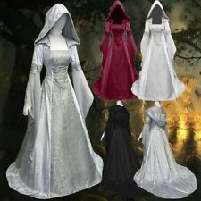 Womens Vintage Victorian Gothic Medieval Long Dress Hooded Cosplay Party Costume