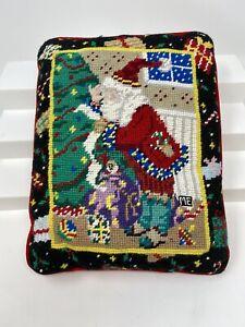 Mary Engelbreit Christmas Needlepoint Pillow Santa Tree Toys