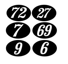 Race Numbers in OVAL PAIR Any Number  Mod Scooter Stickers Scooter Tuning100mm..