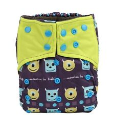 1 Aio Monster Reusable Washable Cloth Diaper Nappy Sewn in Charcoal Insert Night