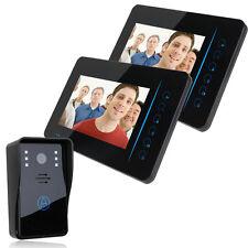 "7"" Wireless Video Door Intercom 1 IR Camera 2 Monitors IR Night Vision Doorbell"
