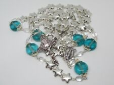 Queen of Heaven Rosary of Stars, Pewter Silver &Crystal Handmade Catholic Rosary