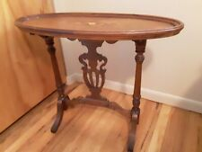 Italian style marquetry top oval table