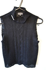 Naf Naf black vest knitted mohair crop sleeveless top see through UK 8