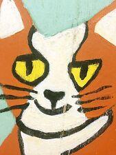 HAPPY CAT PAINTING ON WOOD FOLK ART STYLE ACRYLIC