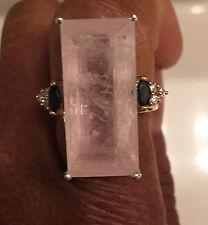 Natural Custom 21 carat pink Morganite, sapphire & diamond 14k yellow gold ring