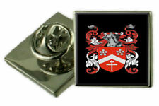 Stamps England Family Crest Coat Of Arms Lapel Pin Badge Engraved Gift Case