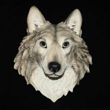 Deko Figur XL Wolfskopf Wandhalterung Wölfe Wildlife Western Indianer Wildlife