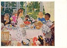 1960 Russian postcard CHILDREN BIRTHDAY PARTY SUMMER FOOD by O.Bogaevskaya