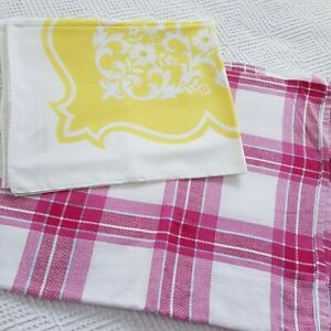 VINTAGE RETRO YELLOW AND PINK  TABLECLOTHS 60S 70S