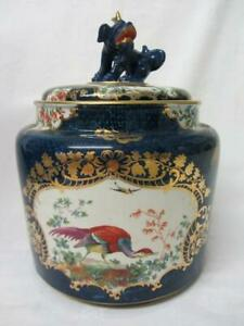Booths Silicone Worcester Scale Blue Exotic Birds Large Lidded Cache Pot c1906