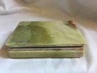 VINTAGE Green Onyx Marple Hinged Jewellery Trinket Box