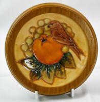 Beautiful Moorcroft Bird & Fruit Pattern Framed Coaster/Pin Dish MadeinEngland!