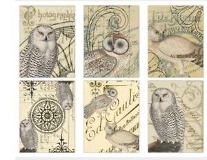 6 owl gift tags vintage Scrap booking junk journal party favors ephemera