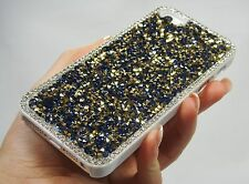 Blue Gold Clear Frame Made with Swarovski Crystals Case Cover Bling iPhone 5/5S