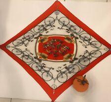"Authentic Hermes 100% Silk Pleated Scarf W Box ""Les Becanes"" 36x36 Orange /Cream"