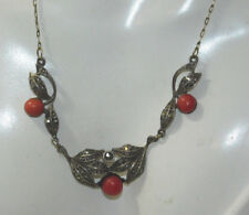 """Edwardian Natural Salmon Red Coral 830 Silver Marcasite 21"""" Necklace  11i 6"""