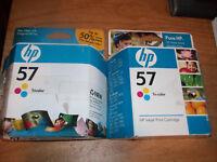 (2) Genuine HP 57 Tri-Color InkJet Print Cartridge NEW SEALED Expired 2008 (B)