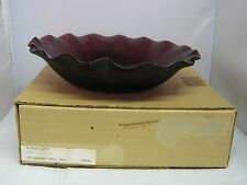 "NEW Mikasa Glass Amethyst Embossed Ruffled Lotus 9.75"" Hostess Bowl"