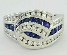 Charles Krypell 1.5 ct 18K White Gold Round Sapphire & Diamond Ring