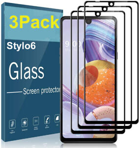 3 PACK For LG Stylo 6 Full Screen Protector 9H Tempered Glass Premium HD Clear