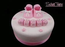 BABY SHOES CAKE TOPPER DECORATION CHRISTENING/BIRTHDAY HANDMADE SUGARPASTE
